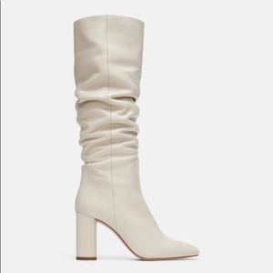 White leather heeled boots from Zara